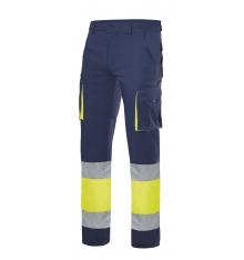 Pantalón stretch bicolor multibolsillos alta visibilidad